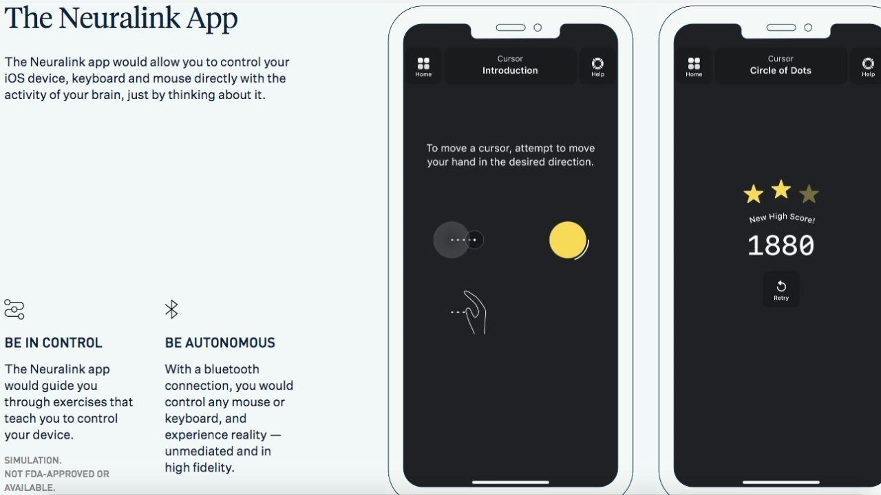 Neuralink mobilná aplikácia