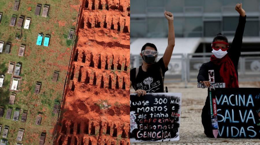 Brazília, provizórny cintorín, protest