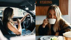 dievča auto žena kava