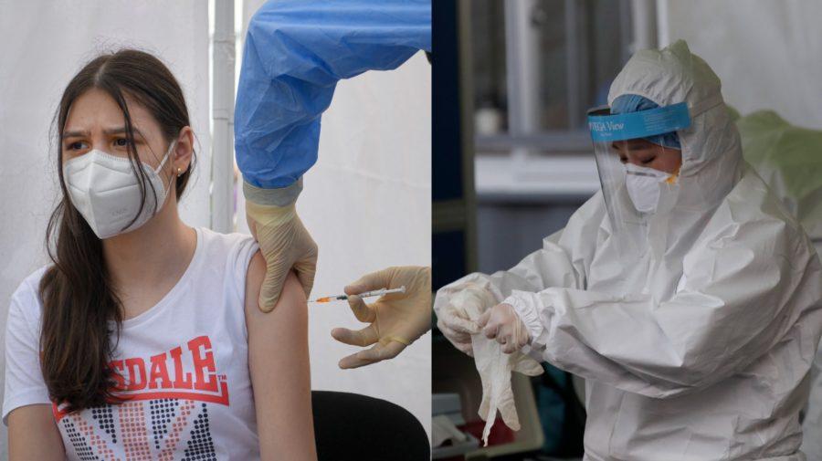 Dievča počas očkovania vakcínou od konkorzia Pfizer/BioNtech proti ochoreniu Covid-19,