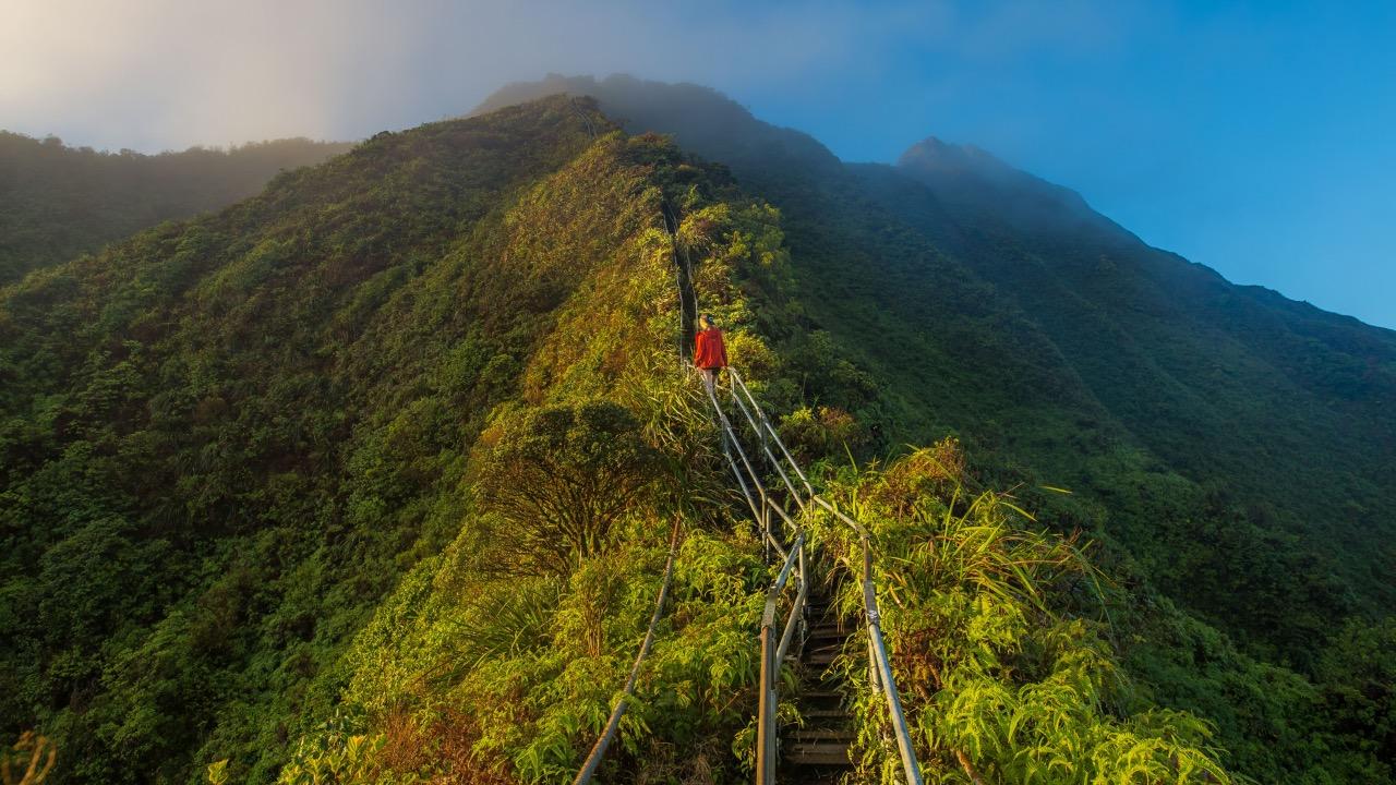 schody do nieba Hawaii Haiku cestovanie
