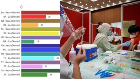 Slovensko COVID-19 DELTA variant - celkový príjem do nemocníc podľa krajov a zaočkovanosti. Zdravotníčka podáva vakcínu proti ochoreniu COVID-19 od spoločnosti  Pfizer/Biontech