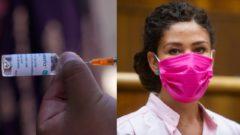 Zdravotnícky pracovník pripravuje dávku očkovacej vakcíny firmy AstraZeneca. Na snímke europoslankyňa Lucia Ďuriš Nicholsonová (SaS).