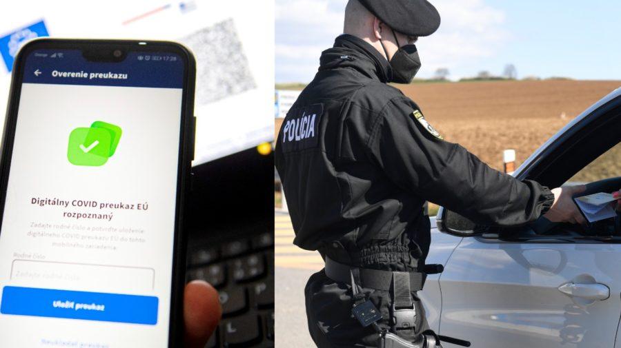 Digitálne COVID preukazy Európskej únie aplikácia GreenPass. Polícia počas kontroly na slovensko-maďarskom hraničnom priechode.