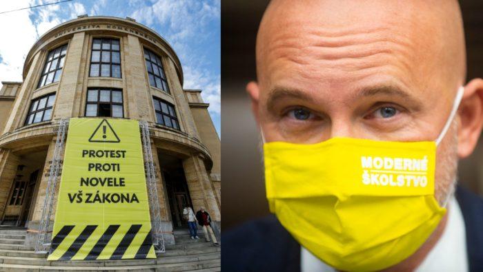 Univerzita Komenského v Bratislava pokračuje v proteste proti návrhu novely zákona o vysokých školách. Na snímke minister školstva, vedy, výskumu a športu SR Branislav Gröhling.